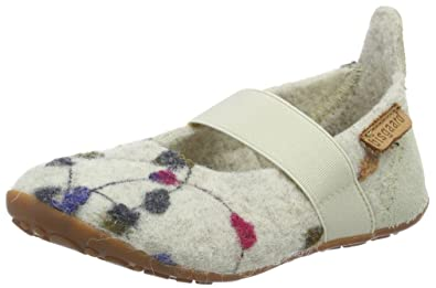 Bisgaard Girls' Slippers-Wool Ballet Loafers, White (171 Creme-Flowers)