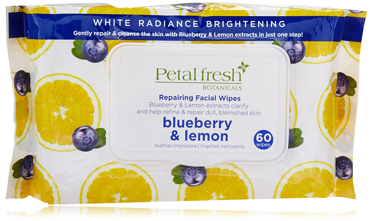 Petal Fresh Botanicals White Radiance Blueberry and Lemon Exfoliating Facial Cleansing Wipes, 60 Count Bio Creative Lab