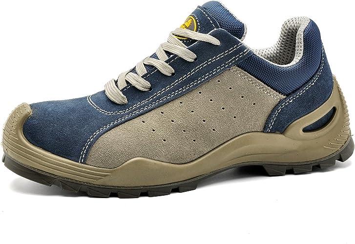SAFETOE S1P Cuir Chaussure de Securité L7295 Anti Glisse Basket Chaussure de Travail Homme Femmes,Embout Acier Respirant Chaussures, Chaussure de