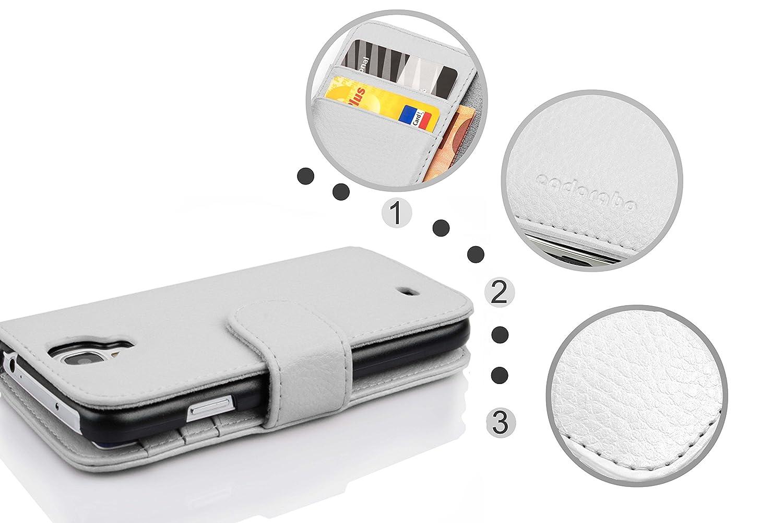 Cadorabo Samsung Galaxy MEGA 6.3 Funda de Cuero Sintético ESTRUCTURA en BLANCO MAGNESIO Cubierta Protectora Estilo Libro con Cierre Magnético, ...