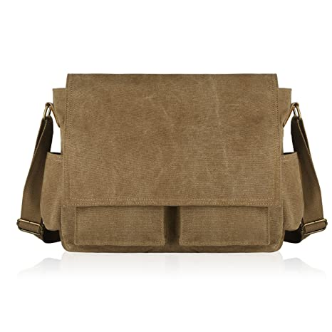 4f3a88f525 SMRITI Canvas Messenger Bag Laptop Crossbody Shoulder Bag 16-Inch - Coffee   Amazon.ca  Electronics