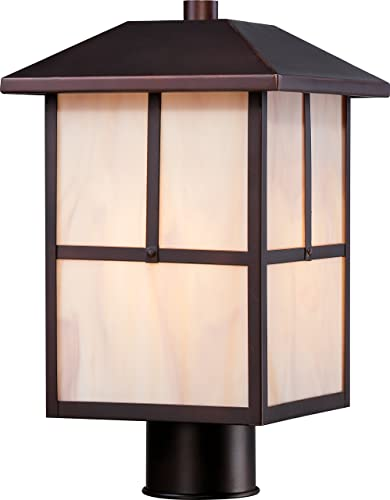 Nuvo Lighting 60 5675 Tanner Post One Light Lantern 100-watt A19 Outdoor Porch and Patio Lighting with Honey Stained Glass, Claret Bronze
