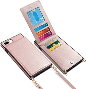 Vofolen for iPhone 8 Plus Case Wallet Card Holder Leather PU Flip Cover Folio Lanyard Crossbody Strap Women Girl Magnetic Clasp Square Heavy Duty Protective for iPhone 6 Plus/7 Plus/8 Plus Rose Gold