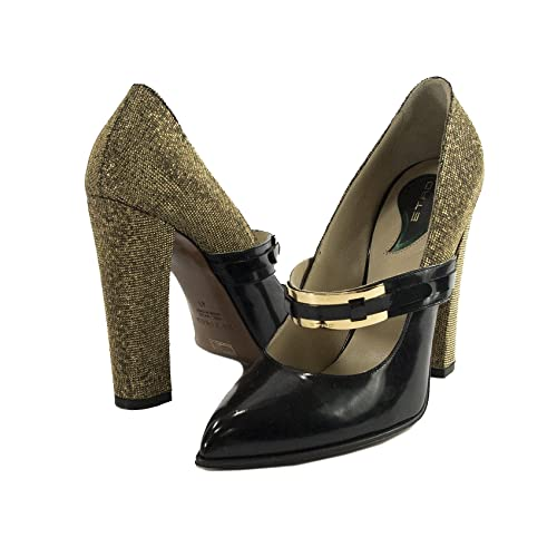 321014720f Image Unavailable. Image not available for. Color: ETRO Runway Gold Metallic  Black Leather Mary Jane Pointed Toe High Heels