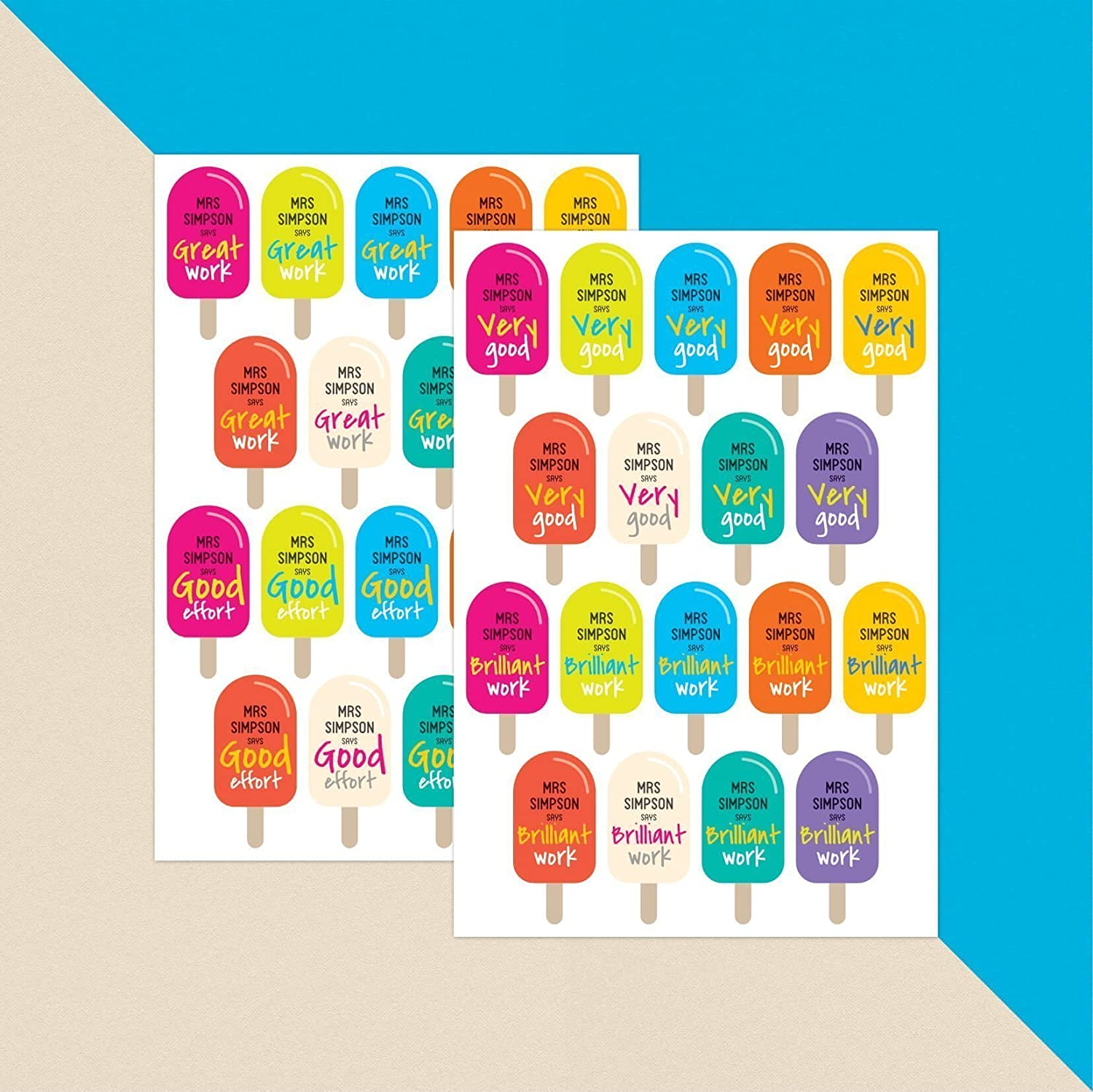 Personalised teacher ice lolly stickers x 36 teacher stickers amazon co uk handmade
