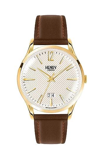 Henry London Reloj Analógico para Hombre de Cuarzo con Correa en Cuero 5018479078227: Amazon.es: Relojes