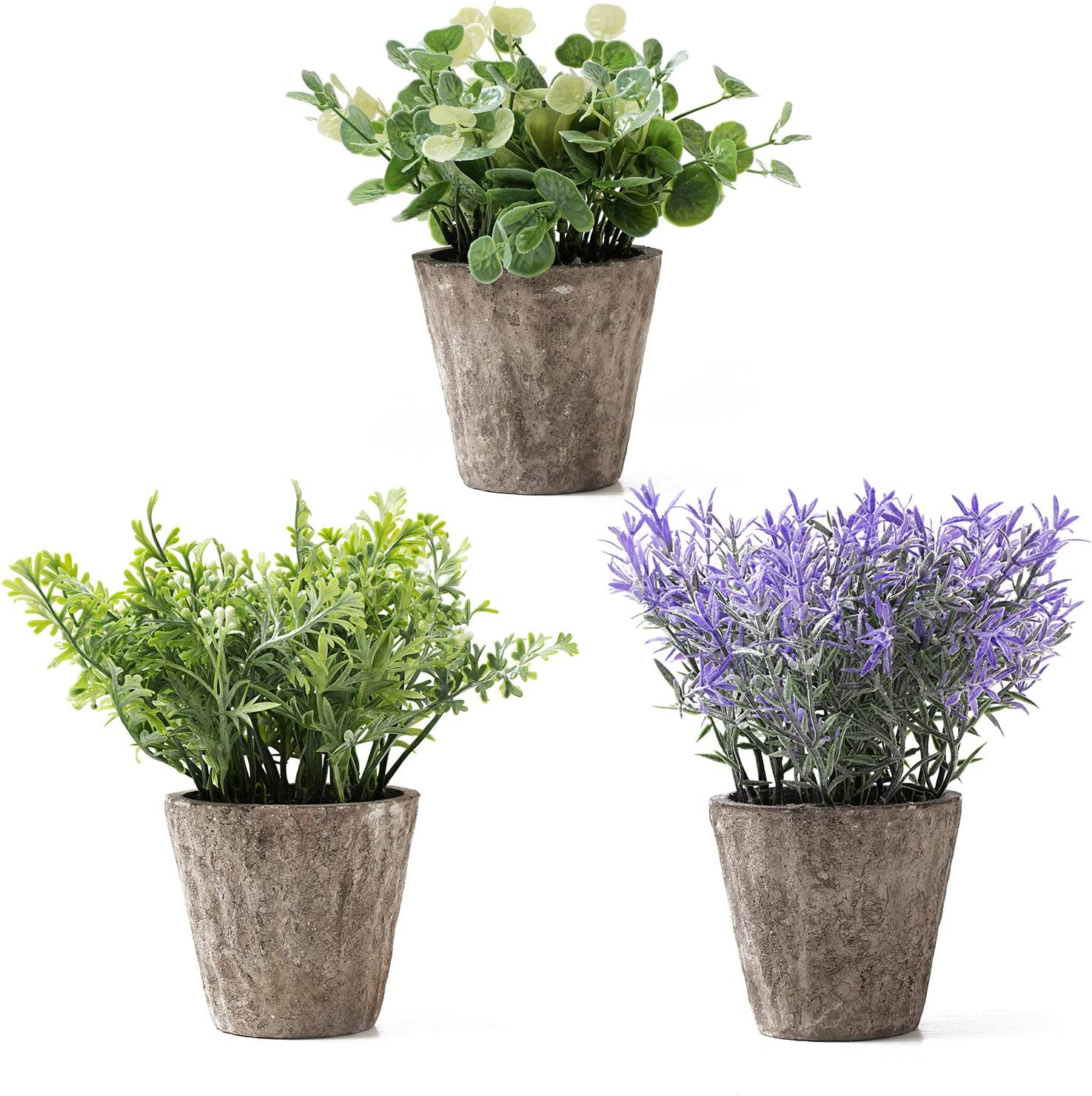 Artificial Potted Plants for Home Decor,3 Pieces of Various Faux Eucalyptus Rosemary Lavender in Medium Concrete-Grey Pots,Rustic Fake Plants for Living Room,Office,Desktop,Bookshelf Indoor Decor