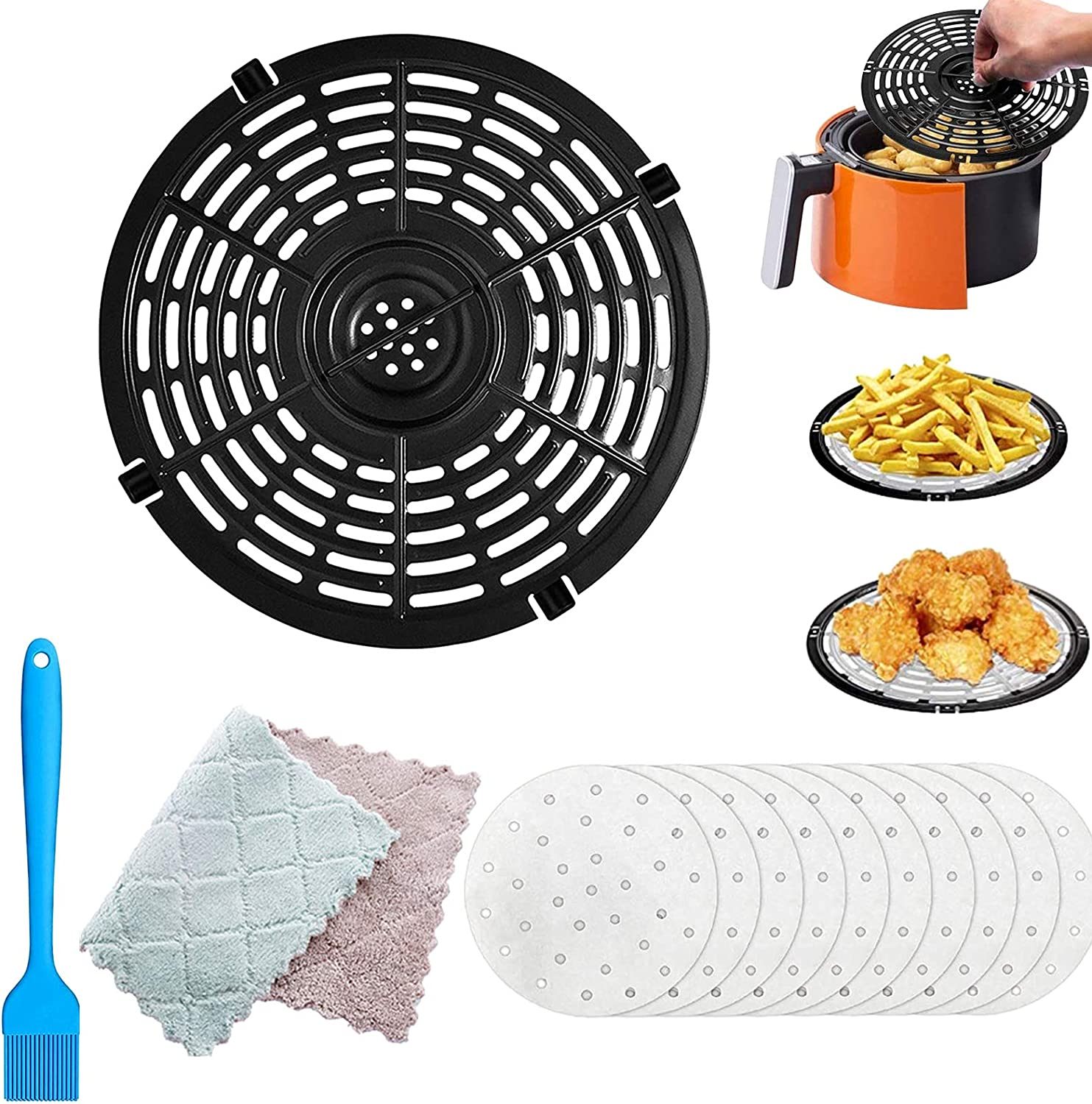 Air Fryer Replacement Grill Pan,Air Fryer Replacement Parts, Non-Stick Fry Pan Crisper Plate Suit for Air Fryers, Dishwasher Safe (Free cleaning cloth.Oil brush and filter paper)(168)