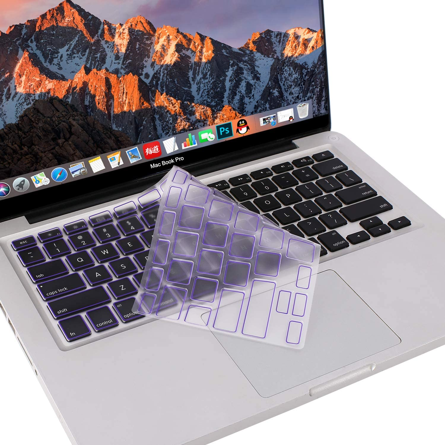 MOSISO Ultra Thin Keyboard Cover Protector Soft TPU Skin Compatible with MacBook Pro 13/15 inch (with/without Retina Display, 2015 or Older Version) MacBook Air 13 inch(Release 2010-2017),Ultra Violet