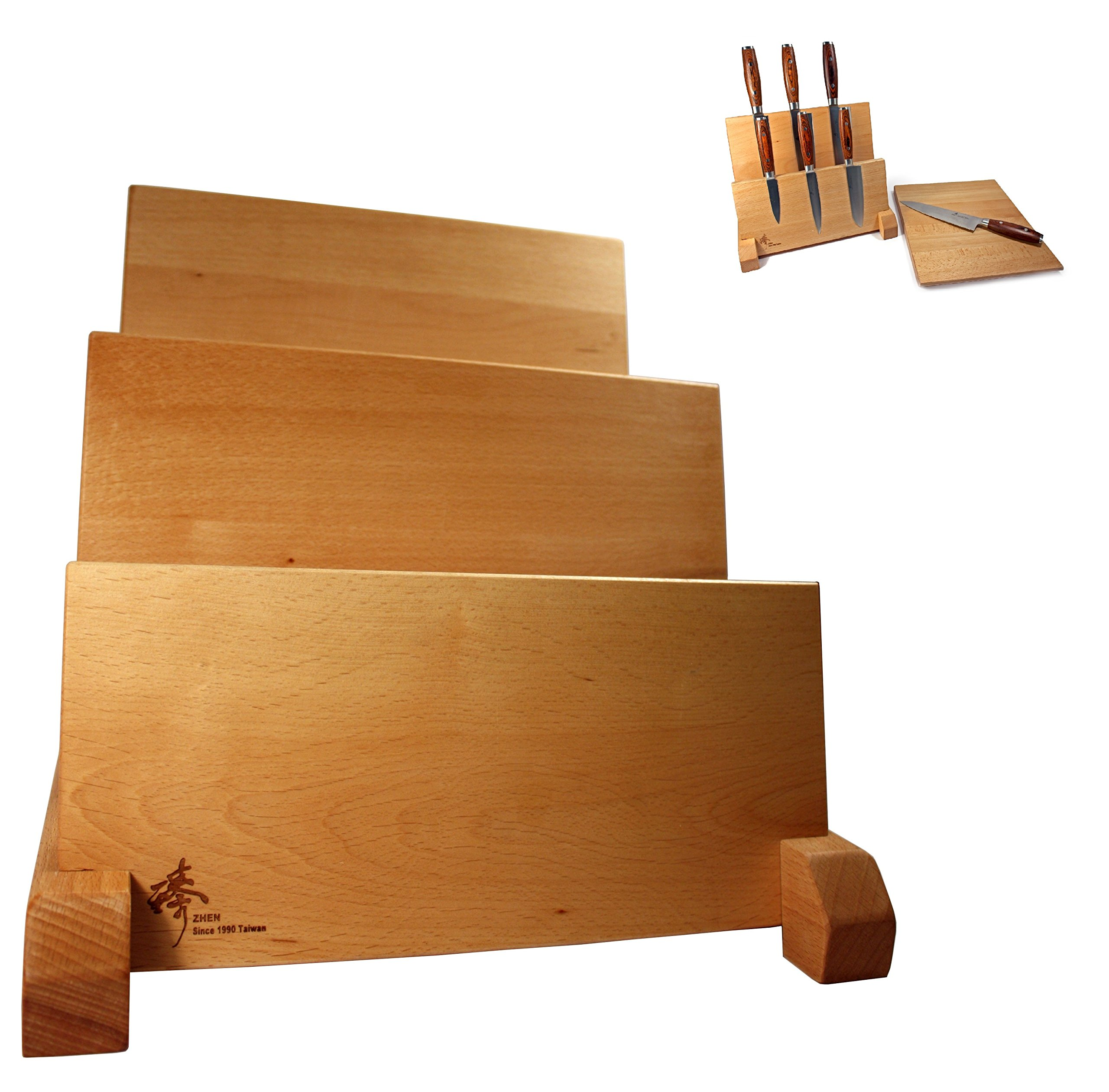 ZHEN Magnetic Wood Knife Block with Solid Beech Wood Natural Lacquer Finish and 2 Rows with Cutting Board, Light Brown