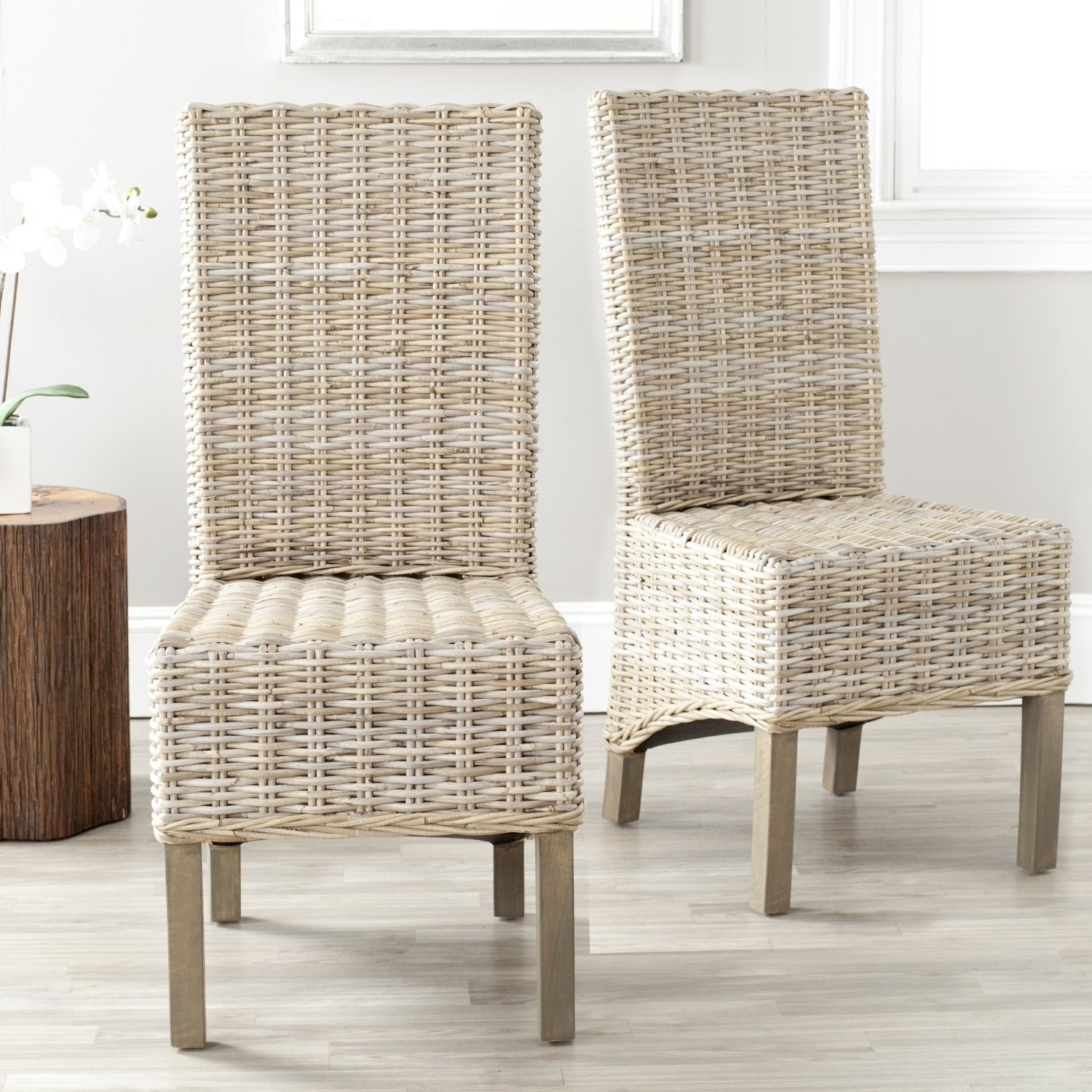 Amazon.com: Safavieh Home Collection Pembrooke Wicker Side Chairs, Antique  Grey, Set Of 2: Kitchen U0026 Dining