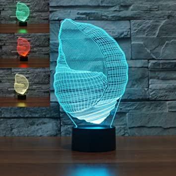 Amazon.com: Lámpara de mesa 3D con diseño de concha de ...