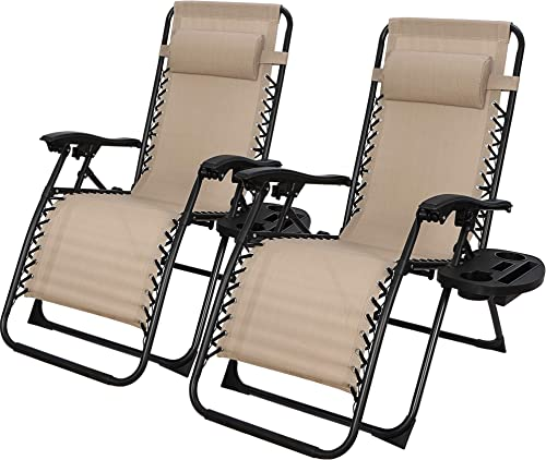 ZenStyle Adjustable Zero Gravity Lounge Chair Folding Out Door Reclining Chair