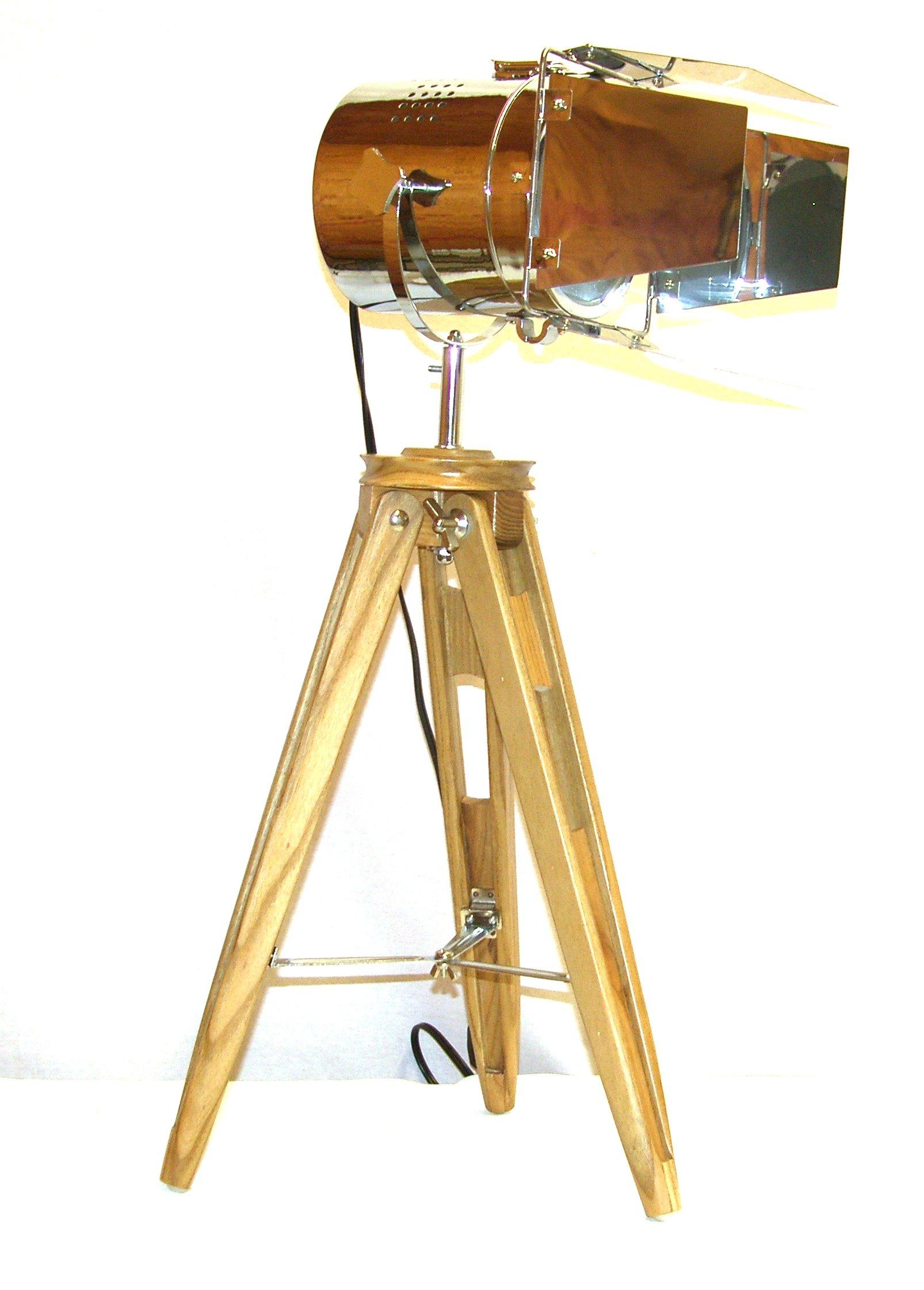 A Ray Of Light 82485 Cinema 30'' Adjustable Spotlight Wood Tripod Table Lamp