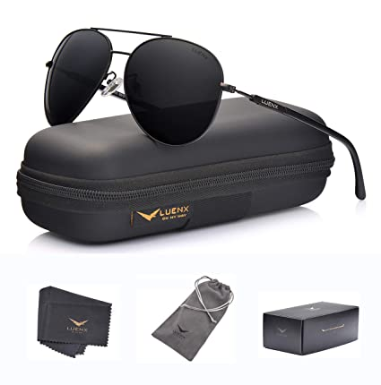 c8d6fd6e2c LUENX Aviator Sunglasses Mens Polarized Black Lens Black Metal Frame Dark  60mm with Case - UV400