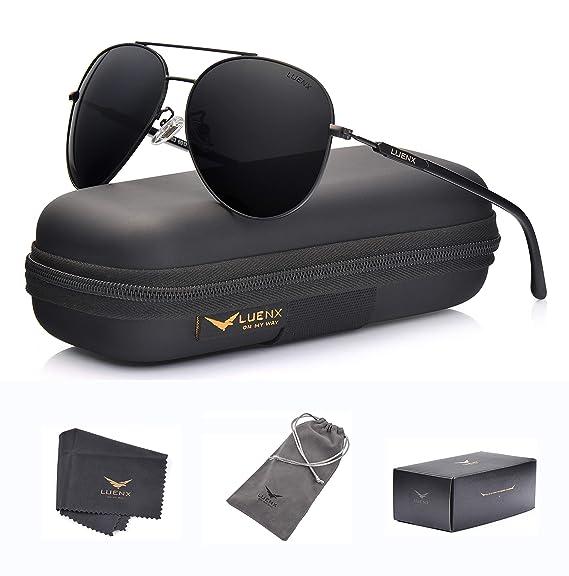 637366c3ab LUENX Aviator Sunglasses Polarized for Men Women with Sun Glasses Case - UV  400 Black  Amazon.in  Clothing   Accessories