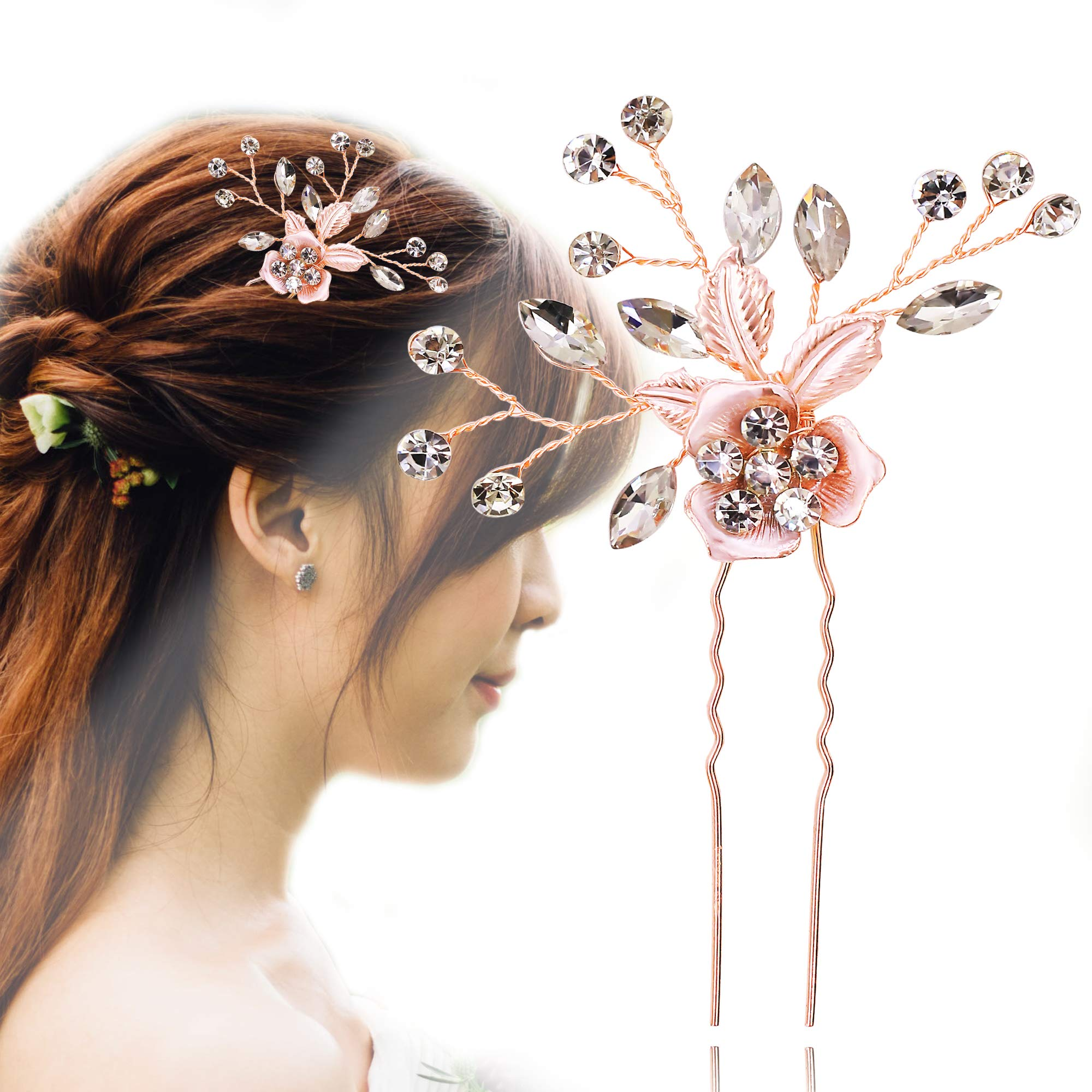 Flower Wedding Headpieces Vintage Inspired Bridal Headband Pearl Rhinestone Pink Art Deco 1920\'s Hair Vine (PIN)