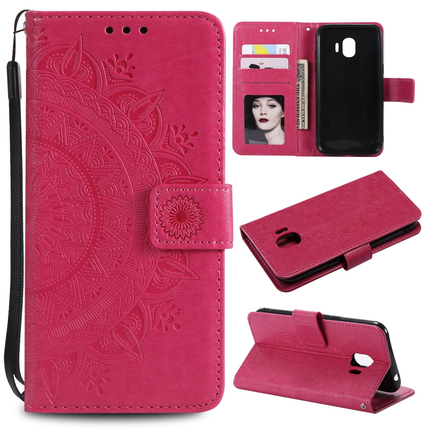 Galaxy J2 Pro 2018 Floral Wallet Case,Galaxy J2 Pro 2018 Strap Flip Case,Leecase Embossed Totem Flower Design Pu Leather Bookstyle Stand Flip Case for Samsung Galaxy J2 Pro 2018-Red