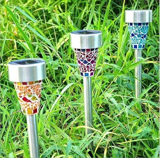 Energía Solar LED luz Camino casa jardín, mosaico lámpara de jardín exterior, color azul, naranja, morado, pack de 3: Amazon.es: Jardín