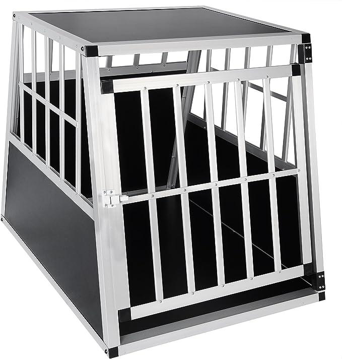 EUGAD Transportín de Aluminio para Perros Gatos Mascotas Jaula Transporte de Viaje para Mascotas Trapezoidal 1 Puerta Negro 0046HT