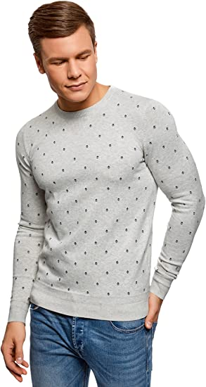 oodji Ultra Hombre Jersey de Punto con Decoración Gráfica
