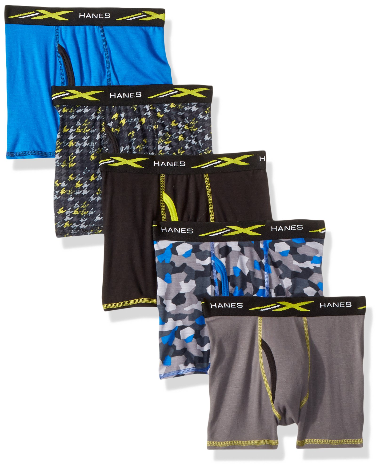 Hanes Boys' Active Cool X-Temp Boxer Brief 5-Pack, Assorted, Medium by Hanes