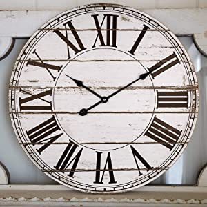 Large Wall Clock, Vintage Farmhouse Style Decorative Shiplap Clock with Roman Numbers, Silent Battery Operated Indoor Clock for Living Room, Dining Room, Hallway (24 Inch, Distressed White)