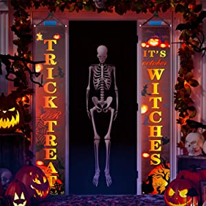 Gibot Halloween Decorations Outdoor Trick or Treat and It's October Witches Halloween Signs for Front Door or Indoor Home Decor Porch Decorations Halloween Welcome Signs