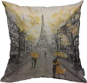 Mugod Throw Pillow Cover Oil Painting Paris European City Landscape France Eiffel Tower Black White Yellow Modern Couple Under Home Decor Pillow Case for Men Women Cushion Cover 18x18 Inch
