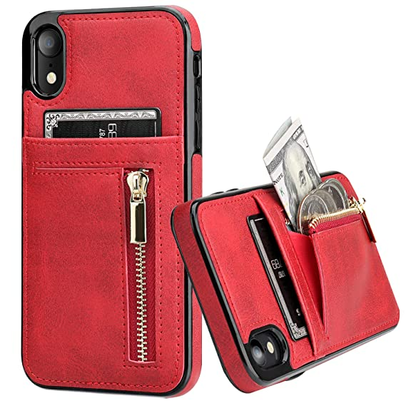 cac778c9d132 KIHUWEY iPhone Xr Case Wallet with Card Holder, iPhone Xr Case Slim Zipper  Purse Wallet Case Leather Shockproof Protective Cover for iPhone Xr 6.1 ...