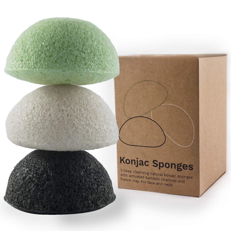Vove | Premium Konjac Facial sponges | 3 pack | 100% Natural | Exfoliating | Plastic-free | Biodegradable | Charcoal | Clay