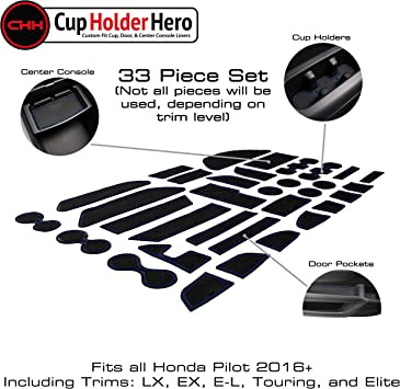 Slot LAIKOU Cup Holder Mats 31-pc for Honda Pilot 2016-2020 Custom Fit Cup Gate and Center Console Liners Cushion Whole Set Dust-Proof Anti-Slip Grey Trim Car Door