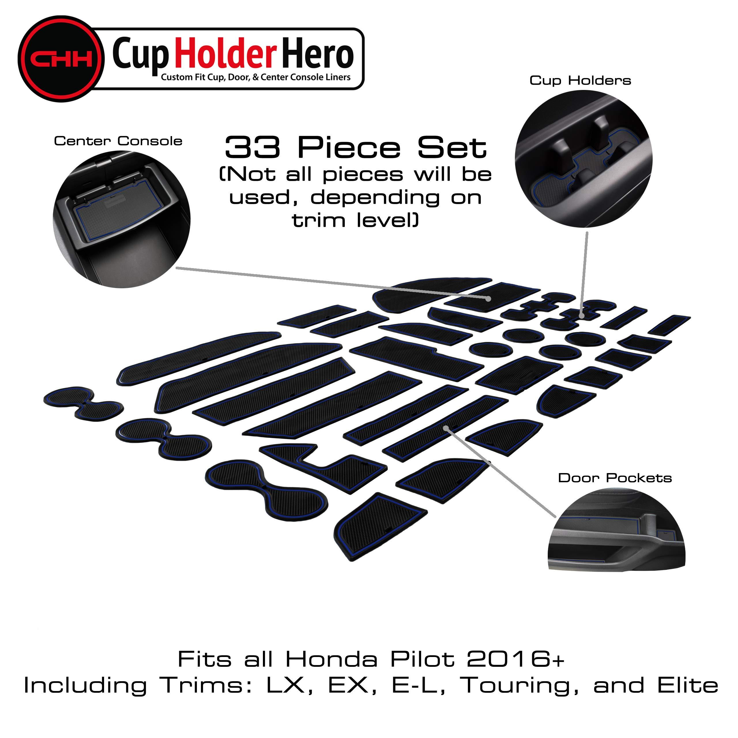 Blue Trim SENSHINE for Honda CR-V CRV Accessories 2020 2021 Cup Holder Insert Center Console Liner Trim Door Packet Mats 20PC Set