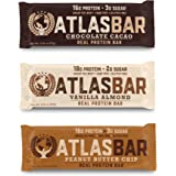 Atlas Bar - Keto/Paleo/Low Carb/All Natural Protein Bar, Variety Pack (12-pack, 4 of each) - Grass Fed Whey, Low Sugar, All Natural, Gluten Free, Soy Free, and GMO Free