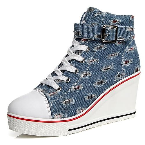 Women Wedges Causal Shoes Woman Platform Denim Canvas Shoes Hidden Wedge Sneakers Zapatillas Mujer Blue 4