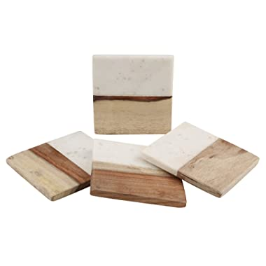 Thirstystone Marble & Acacia Accent Drink Coaster Set, White