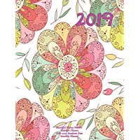 2019 Beautiful Henna Pattern Rainbow Flowers 2018-2019 Academic Year: Monthly Planner: July 2018 to December 2019 Weekly and Monthly Large 8.5x11 Organizer with Motivational Quotes: Volume 82