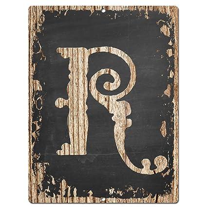 Alphabet Initial Letter R Chic Sign Rustic Shabby Vintage Style Retro Kitchen Bar Pub Coffee Shop