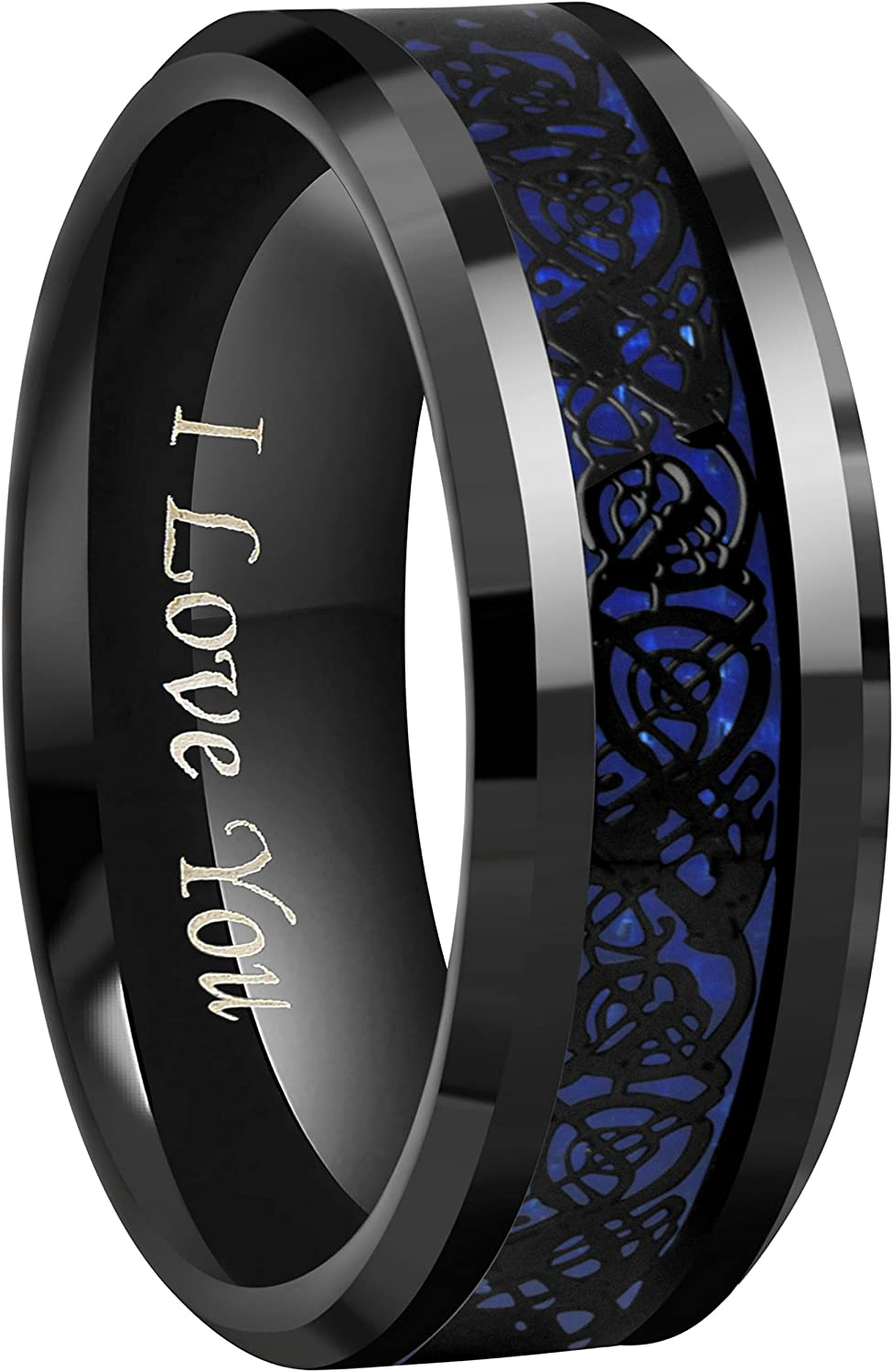 CROWNAL 6mm 8mm Blue Carbon Fiber Black Celtic Dragon Tungsten Carbide Wedding Band Ring Engraved I Love You Size 4 to 16
