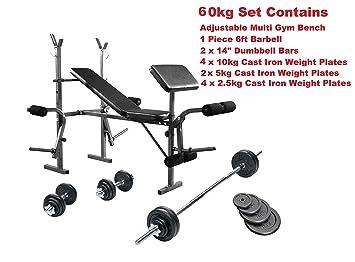 Banco de entrenamiento con peso 65 kg juego completo de Multi Gym ...