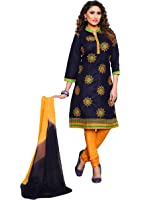 Oomph! Women's Cotton Unstitched Embroidered Salwar Suit Dupatta Dress Material, Indigo Blue