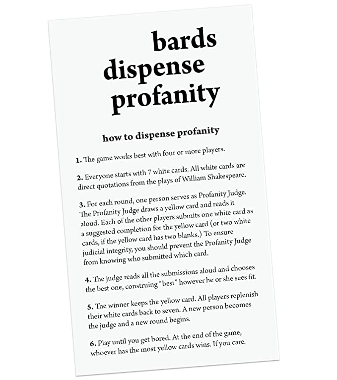 Why So Ever Bards Dispense Profanity: A Party Game Based on the Works of  William Shakespeare