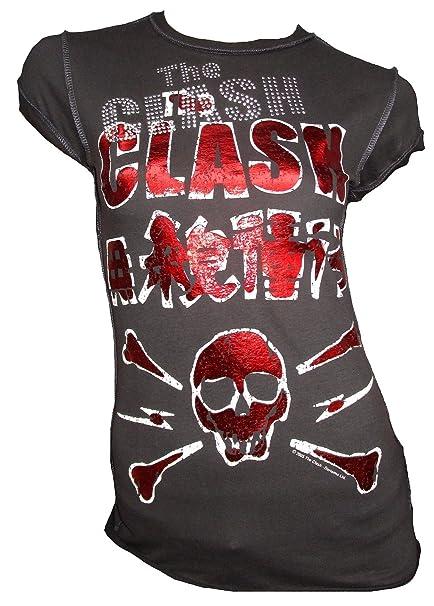 Amplified Mujer Lady - Camiseta Gris Antracita Official The Clash Calavera Strass Rock Star Vintage: Amazon.es: Ropa y accesorios