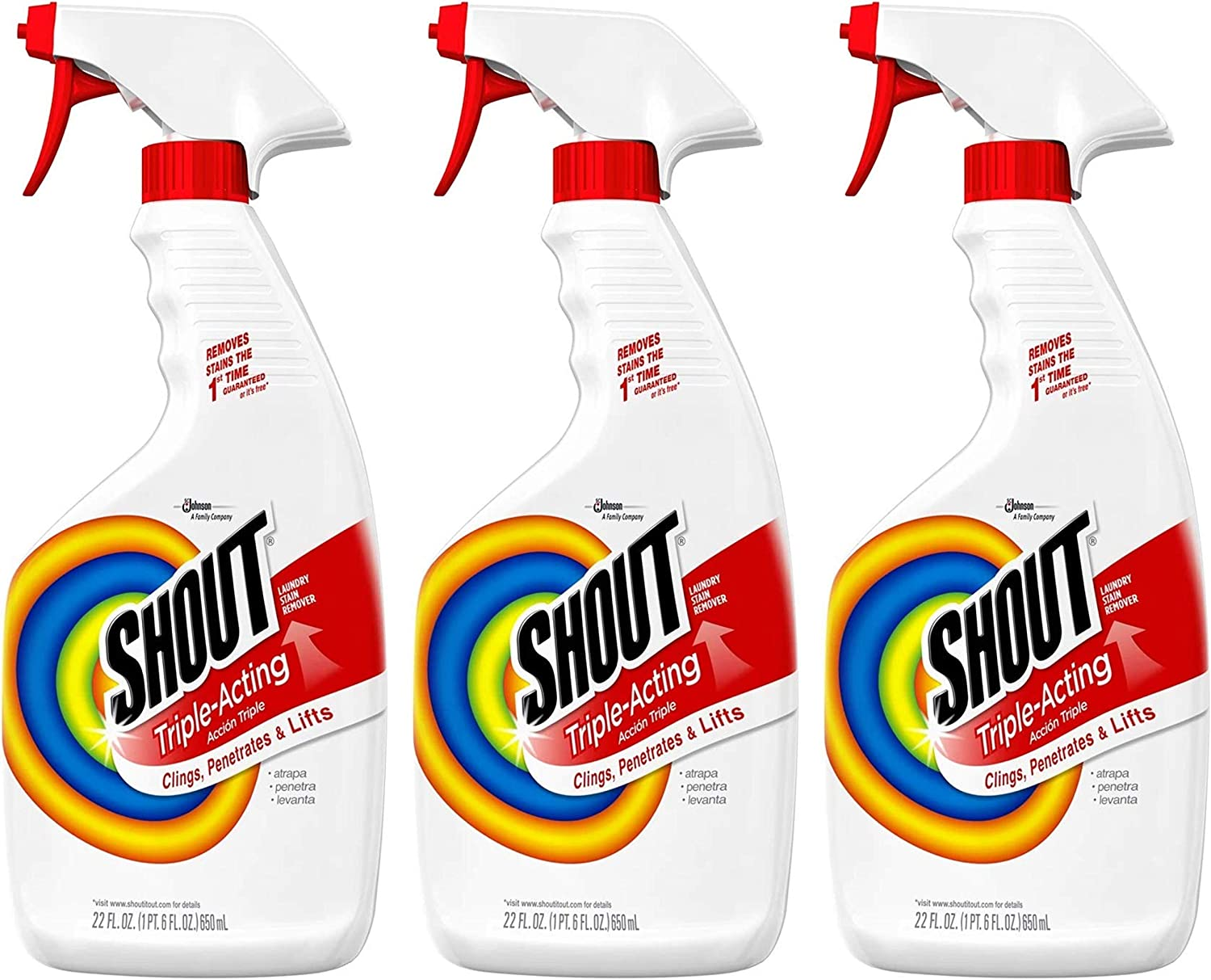 Shout Laundry Stain Remover Trigger Spray - 22 Ounce - Pack of 3