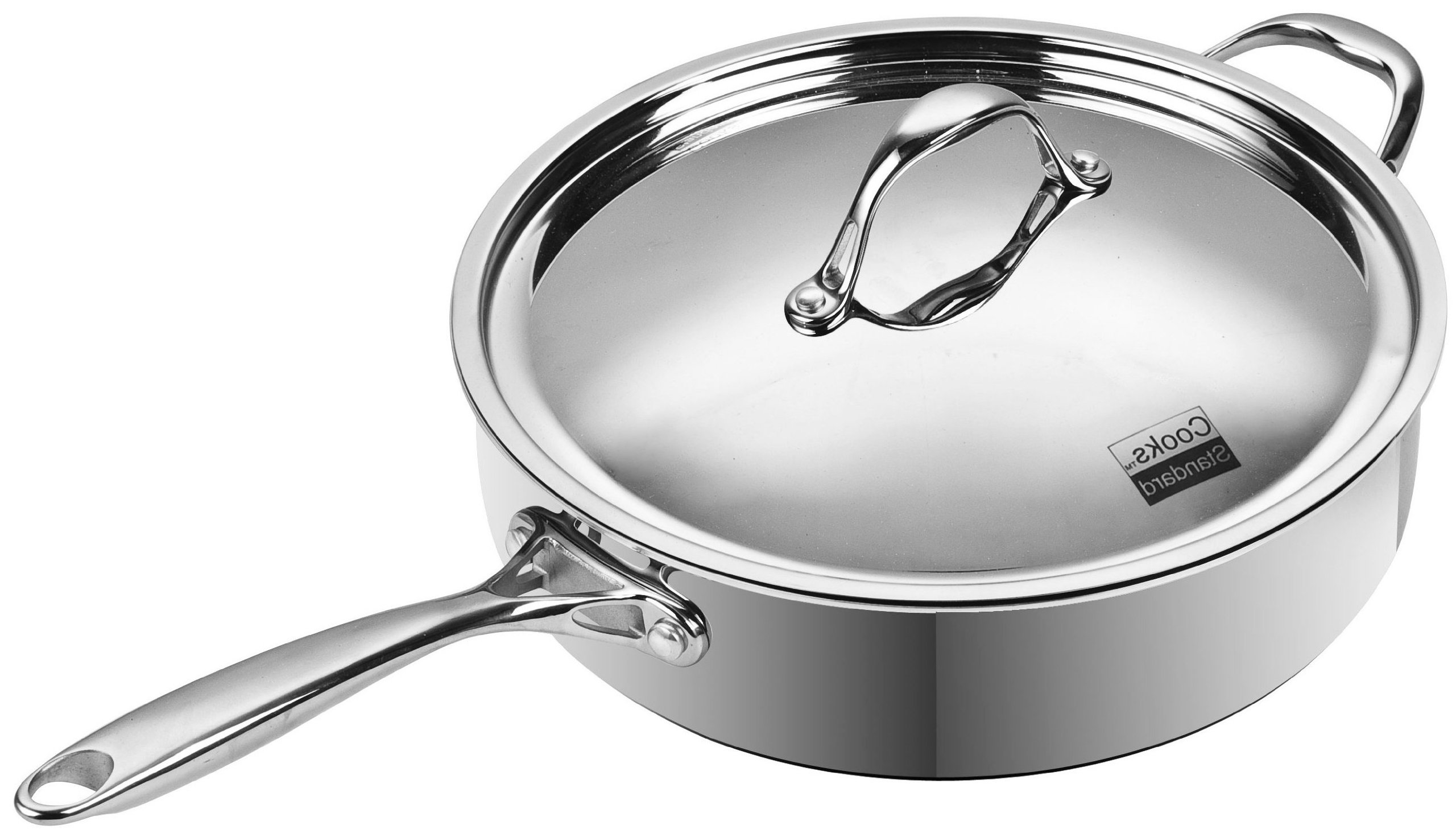 Cooks Standard 11-Inch/5 Quart Multi-Ply Clad Deep Saute Pan with Lid, Stainless Steel
