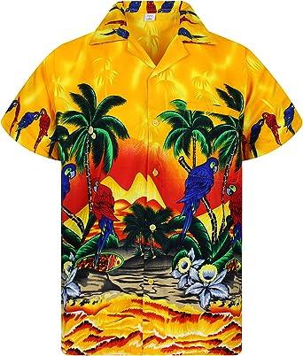 Funky Camisa Hawaiana Señores | XS -12XL | Manga Corta | Bolsillo Delantero | impresión De Hawaii| Loro: Amazon.es: Ropa y accesorios