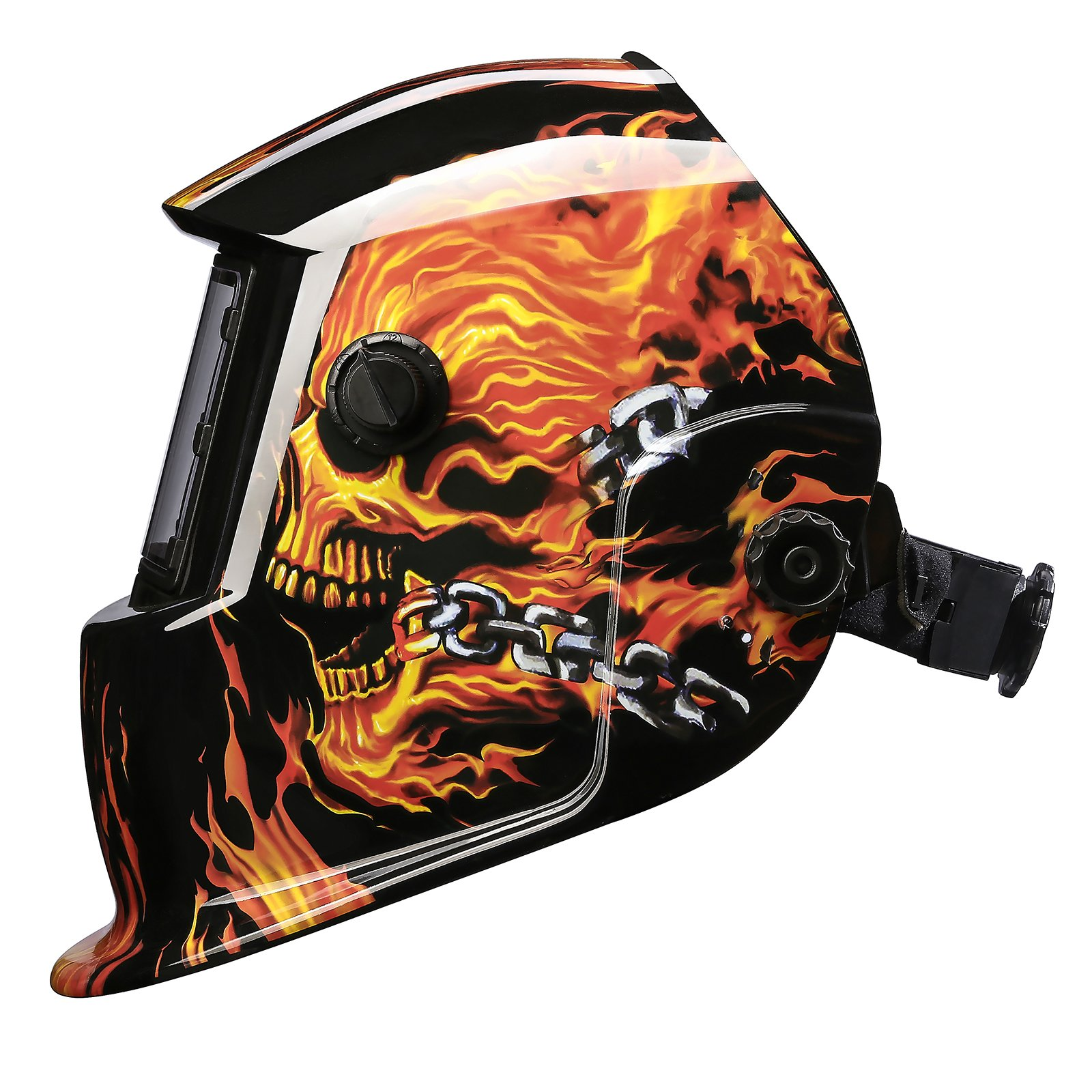 Solar Powered Welding Helmet Auto Darkening Professional Hood with Wide Lens Adjustable Shade Range by DEKOPRO (Image #4)