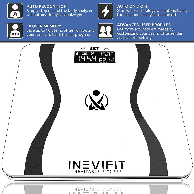 INEVIFIT - Báscula digital con analizador corporal de alta precisión para el baño. Báscula para medir el peso, la grasa, el agua, la masa muscular y ósea.