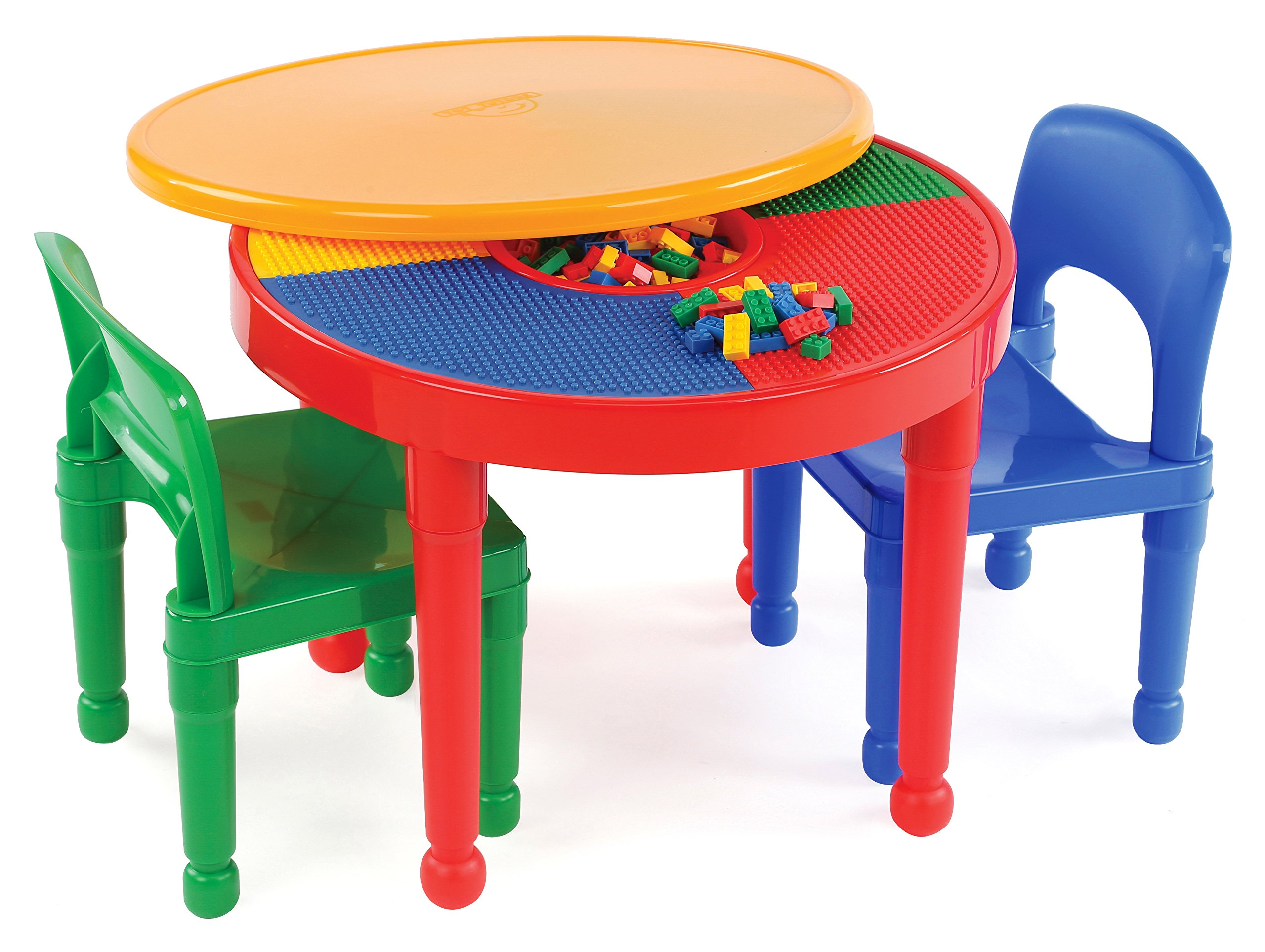 round plastic construction table  chairs play legos kids dining  - round plastic construction table  chairs play legos kids dining buildingblocks