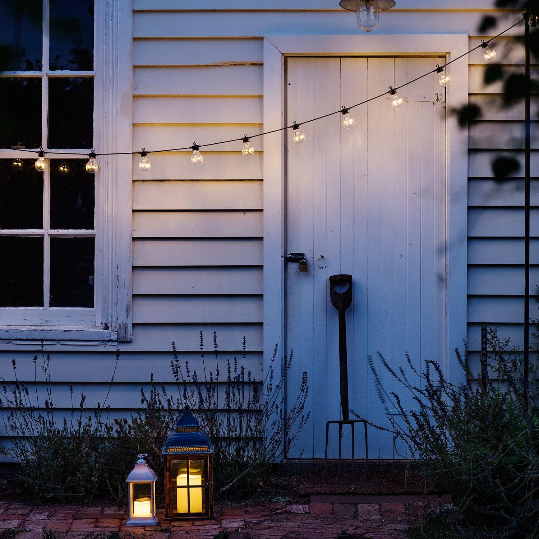 20er LED Party Lichterkette warmweiß A60 schwarzes Kabel 31V Typ Core koppelbar Lights4fun Warmweiß
